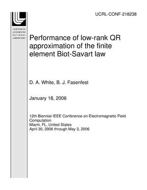 Primary view of object titled 'Performance of low-rank QR approximation of the finite element Biot-Savart law'.