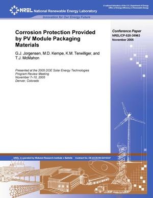 Primary view of object titled 'Corrosion Protection Provided by PV Module Packaging Materials'.