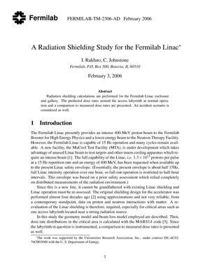 Primary view of object titled 'A Radiation shielding study for the Fermilab Linac'.
