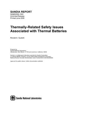 Primary view of object titled 'Thermally-related safety issues associated with thermal batteries.'.