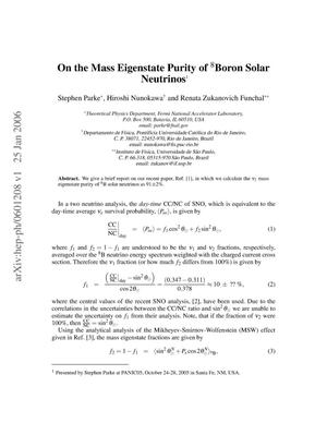 Primary view of object titled 'On the mass eigenstate purity of Boron-8 solar neutrinos'.