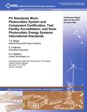 Primary view of object titled 'PV Standards Work: Photovoltaic System and Component Certification, Test Facility Accreditation, and Solar Photovoltaic Energy Systems International Standards'.