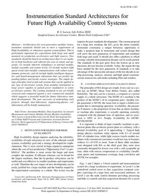 Primary view of object titled 'Instrumentation Standard Architectures for Future High Availability Control Systems'.