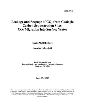 Primary view of object titled 'Leakage and Sepage of CO2 from Geologic Carbon SequestrationSites: CO2 Migration into Surface Water'.
