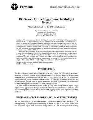 Primary view of object titled 'D0 search for the Higgs boson in multijet events'.