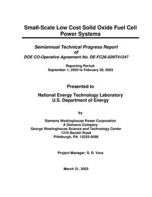 Primary view of object titled 'Small-Scale Low Cost Solid Oxide Fuel Cell Power Systems'.