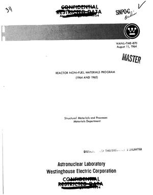 Primary view of object titled 'Reactor non-fuel materials program, 1964--1965'.