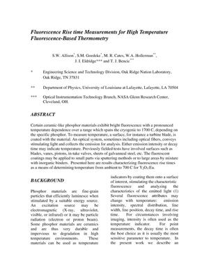 Primary view of object titled 'Fluorescence Rise Time Measurements for High Temperature Fluorescence-Based Thermometry'.