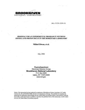 Primary view of object titled 'PROPOSAL FOR AN EXPERIMENT PROGRAM IN NEUTRINO PHYSICS AND PROTON DECAY IN THE HOMESTAKE LABORATORY.'.