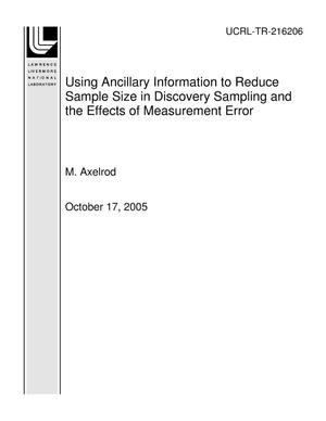 Primary view of object titled 'Using Ancillary Information to Reduce Sample Size in Discovery Sampling and the Effects of Measurement Error'.