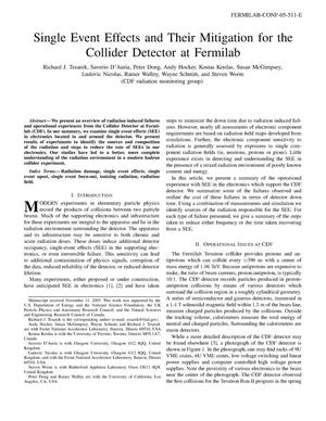 Primary view of object titled 'Single event effects and their mitigation for the Collider Detector at Fermilab'.