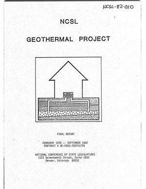 Primary view of object titled 'National Conference of State Legislatures Geothermal Project. Final report, February 1978--September 1982'.