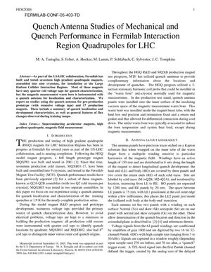 Primary view of object titled 'Quench antenna studies of mechanical and quench performance in Fermilab interaction region quadrupoles for LHC'.