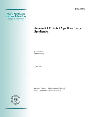Primary view of object titled 'Advanced CHP Control Algorithms: Scope Specification'.