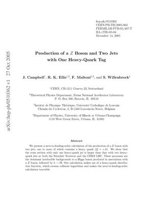 Primary view of object titled 'Production of a Z boson and two jets with one heavy-quark tag'.