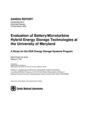Primary view of object titled 'Evaluation of battery/microturbine hybrid energy storage technologies at the University of Maryland :a study for the DOE Energy Storage Systems Program.'.