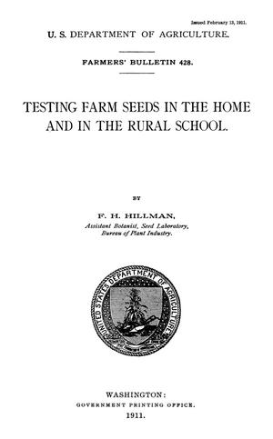 Primary view of Testing Farm Seed in the Home and in the Rural School