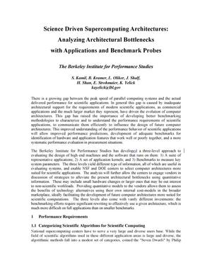 Primary view of object titled 'Science Driven Supercomputing Architectures: AnalyzingArchitectural Bottlenecks with Applications and Benchmark Probes'.