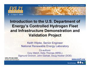Primary view of object titled 'Introduction to the U.S. Department of Energy's Controlled Hydrogen Fleet and Infrastructure Demonstration and Validation Project'.