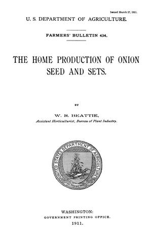 Primary view of object titled 'The Home Production of Onion Seed and Sets'.