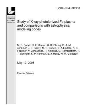 Primary view of object titled 'Study of X-ray photoionized Fe plasma and comparisons with astrophysical modeling codes'.