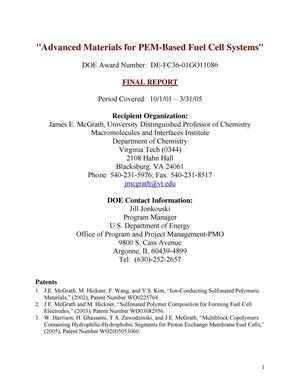 Primary view of object titled 'Advanced Materials for PEM-Based Fuel Cell Systems'.