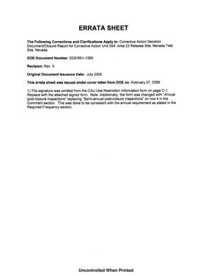 Primary view of object titled 'Corrective Action Decision Document/Closure Report for Corrective Action Unit 554: Area 23 Release Site Nevada Test Site, Nevada, Rev. No.: 0 with Errata Sheet'.
