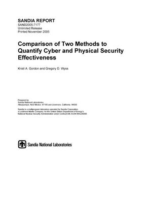 Primary view of object titled 'Comparison of two methods to quantify cyber and physical security effectiveness.'.