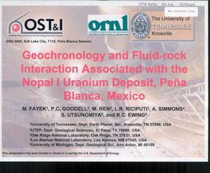 Primary view of object titled 'GEOCHRONOLOGY AND FLUID-ROCK INTERACTION ASSOCIATED WITH THE NOPAL I URANIUM DEPOSIT, PENA BLANCA, MEXICO'.