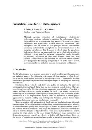 Primary view of object titled 'Simulation Issues for RF Photoinjectors'.