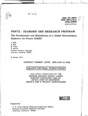 Primary view of object titled 'ESSEX-diamond ore research program: the development and manufacture of a gelled nitromethane explosive for project ESSEX'.