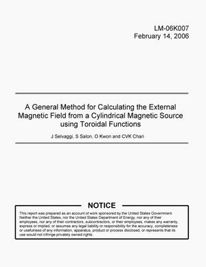 Primary view of object titled 'A General Method for Calculating the External Magnetic Field from a Cylindrical Magnetic Source using Toroidal Functions'.
