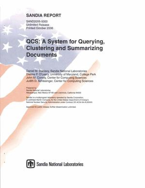 Primary view of object titled 'QCS : a system for querying, clustering, and summarizing documents.'.