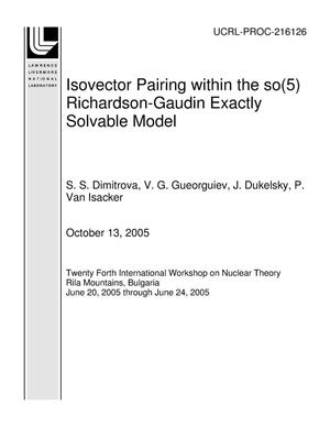 Primary view of object titled 'Isovector Pairing within the so(5) Richardson-Gaudin Exactly Solvable Model'.
