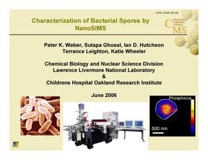 Primary view of object titled 'Characterization of Bacterial Spores by NanoSIMS'.