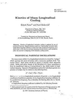 Primary view of object titled 'KINETICS OF MUON LONGITUDINAL COOLING.'.