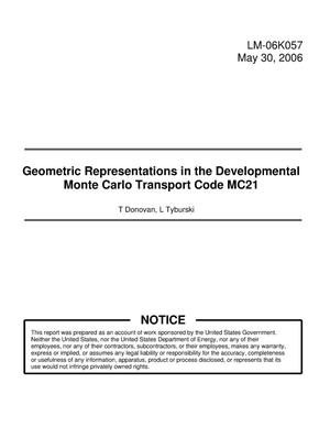 Primary view of object titled 'Geometric Representations in the Developmental Monte Carlo Transport Code MC21'.
