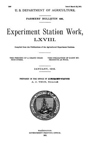 Primary view of object titled 'Experiment Station Work, [Volume] 68'.