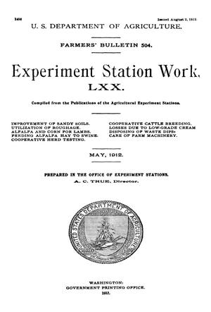 Primary view of object titled 'Experiment Station Work, [Volume] 70'.