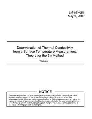 Primary view of object titled 'Determination of Thermal Conductivity from a Surface Temperature Measurement: Theory for the 3w Method'.
