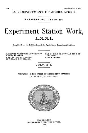Primary view of Experiment Station Work, [Volume] 71