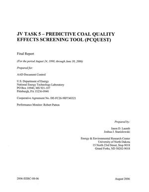 Primary view of object titled 'JV TASK - PREDICTIVE COAL QUALITY EFFECTS SCREENING TOOL (PCQUEST)'.