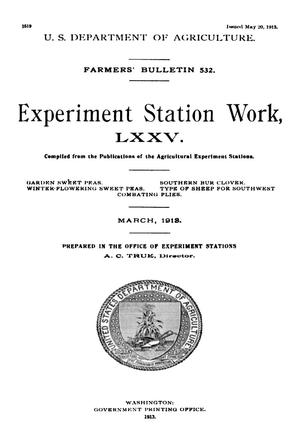 Primary view of object titled 'Experiment Station Work, [Volume] 75'.