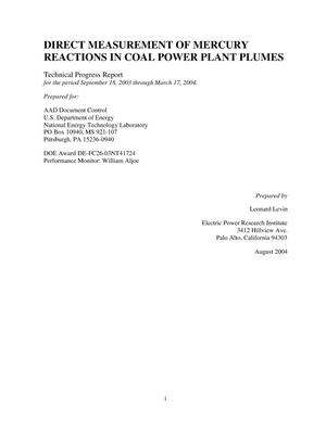 Primary view of object titled 'DIRECT MEASUREMENT OF MERCURY REACTIONS IN COAL POWER PLANT PLUMES'.
