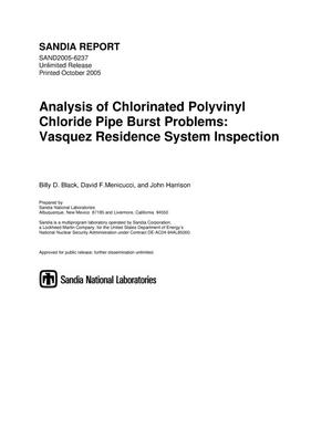Primary view of object titled 'Analysis of chlorinated polyvinyl chloride pipe burst problems :Vasquez residence system inspection.'.