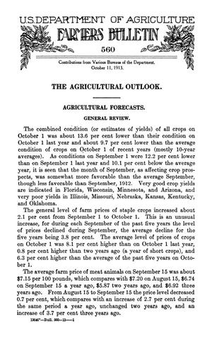 Primary view of The Agricultural Outlook: October 11, 1913