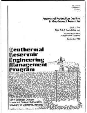 Primary view of object titled 'Analysis of production decline in geothermal reservoirs'.