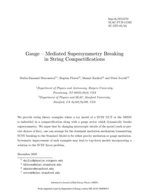 Primary view of object titled 'Gauge - Mediated Supersymmetry Breaking in String Compactifications'.