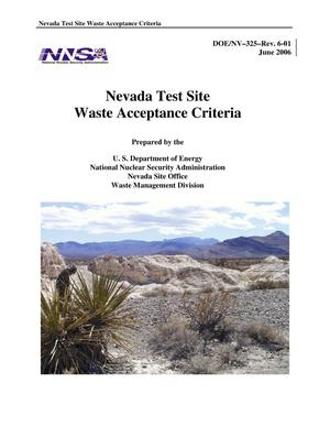 Primary view of object titled 'NEVADA TEST SITE WASTE ACCEPTANCE CRITERIA, JUNE 2006'.