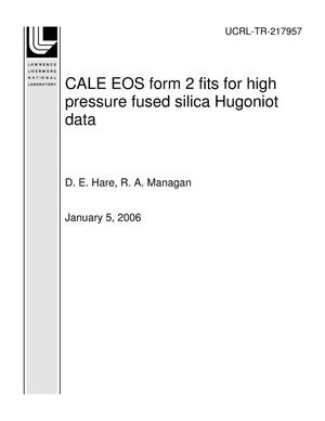 Primary view of object titled 'CALE EOS form 2 fits for high pressure fused silica Hugoniot data'.